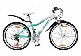 """Велосипед подростковый горный Winner Betty 24"""" бело-голубой, рама - 13"""""""