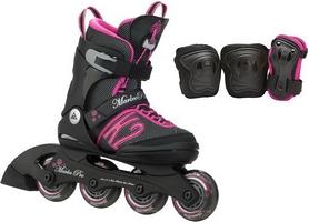 Коньки роликовые раздвижные + защита K2 Marlee Pro Pack 2015 черно-розовые