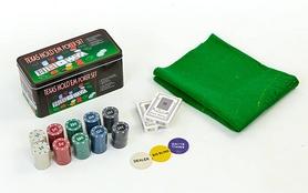 Фото 2 к товару Набор для игры в покер, в металлической коробке, 200 фишек