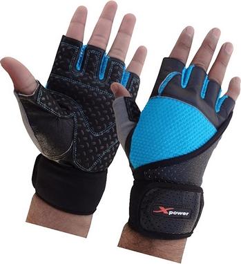 Перчатки для фитнеса X-power 9008 черно-голубые