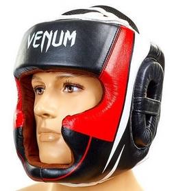 Шлем боксерский кожаный Venum BO-5239-BKW