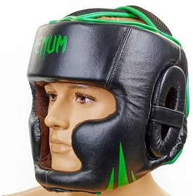 Шлем боксерский кожаный Venum Challenger BO-5246-G черный-салатовый