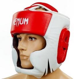 Шлем боксерский кожаный Venum Challenger BO-5246-R красный-белый
