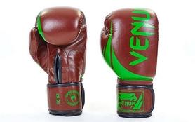 Перчатки боксерские кожаные Venum Challenger BO-5245-BR коричнево-салатовые