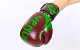 Фото 4 к товару Перчатки боксерские кожаные Venum Challenger BO-5245-BR коричнево-салатовые