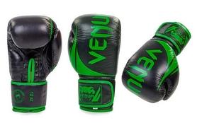 Перчатки боксерские кожаные Venum Challenger BO-5245-G черно-салатовые