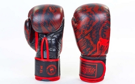 Перчатки боксерские кожаные Venum Fusion VL-5796-R черно-красные