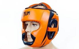 Шлем с полной защитой боксерский кожаный Venum Elite Neo BO-5339-OR оранжево-черный