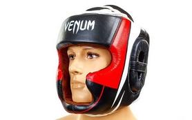 Шлем с полной защитой боксерский кожаный Venum BO-5239-BKW черно-белый