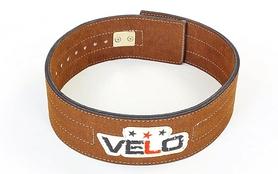 Пояс для пауэрлифтинга с застёжкой-автомат Velo ZB-5784 коричневый
