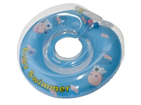 Круг на шею Baby Swimmer Classic с погремушками голубой