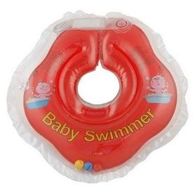 Круг на шею Baby Swimmer Classic с погремушками красный