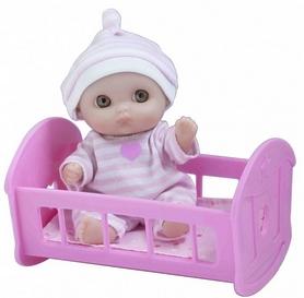 Пупс-малыш JC Toys с кроваткой, 13 см
