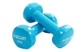 Гантели с виниловым покрытием ZLT 2 шт по 1 кг голубые