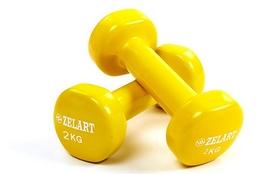Гантели с виниловым покрытием ZLT 2 шт по 2 кг желтые