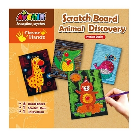 Набор для гравировки Bino Avenir Clever Hands Scratch Board Animal Discover