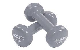 Гантели с виниловым покрытием ZLT 2 шт по 1,5 кг серые