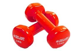 Гантели с виниловым покрытием ZLT 2 шт по 1,5 кг красные