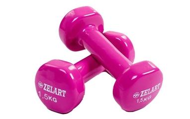 Гантели с виниловым покрытием ZLT 2 шт по 1,5 кг фиолетовые