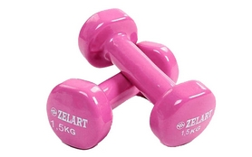 Гантели с виниловым покрытием ZLT 2 шт по 1,5 кг розовые