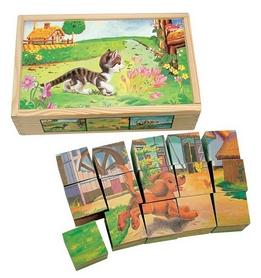 Кубики Bino с изображением домашних животных