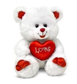 Игрушка мягкая Lava Медведь белый с сердцем музыкальный 20 см