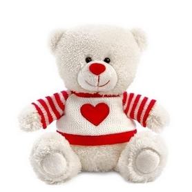 Игрушка мягкая Lava Медвежонок Сэмми в свитере 18 см красный