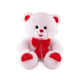 Игрушка мягкая Lava Медведь блестящий с сердцем музыкальный 20 см розовый