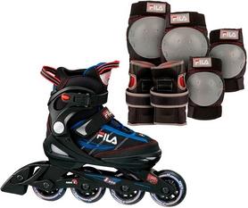 Фото 2 к товару Коньки роликовые раздвижные детские Fila 15 J-one Combo 2 Set blk/blue/red/f15 10615160 синие