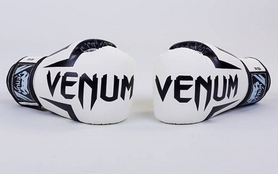 Фото 2 к товару Перчатки боксерские на липучке VenumBO-5698-W белые