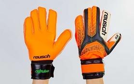 Фото 2 к товару Перчатки вратарские с защитными вставками на пальцы Reusch FB-873-1 оранжевые