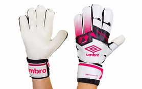 Распродажа*! Перчатки вратарские с защитными вставками на пальцы Umbro FB-894-2 белые - 8
