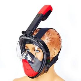 Маска для снорклинга с дыханием через нос Dorfin F-118-BKR красная