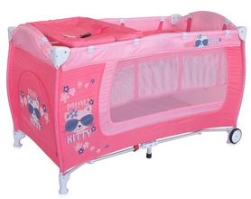 Манеж-кровать Lorelli Danny 2 layers pink kitten