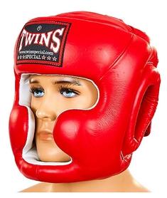 Шлем боксерский кожаный Twins HGL-3-RD красный
