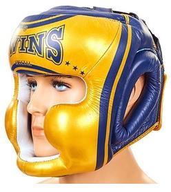 Шлем боксерский с полной защитой кожаный  Twins FHG-TW4GD-BU сине-желтый