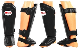 Защита для голени и стопы Муай Тай, ММА, Кикбоксинг кожаная Twins SGL-10-BK