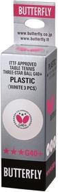 Набор мячей для настольного тенниса Butterfly G40+ Plastic 3* - белые, 3 шт (BG40-P-3)