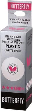 Набор мячей для настольного тенниса Butterfly G40+ Plastic 3* белые, 3 шт
