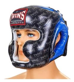 Шлем боксерский кожаный Twins FHG-TW1BU сине-черный
