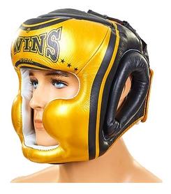 Шлем боксерский кожаный Twins FHG-TW4GD-BK черно-желтый