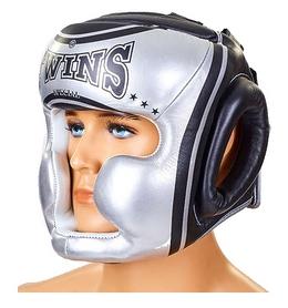 Шлем боксерский кожаный Twins FHG-TW4SI серебристо-черный