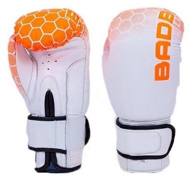 Перчатки боксерские кожаные Bad Boy, бело-оранжевые