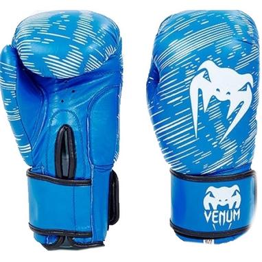 Перчатки боксерские кожаные Venum, синие