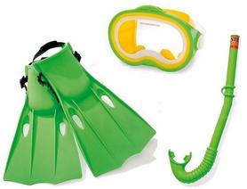 Набор для плавания (маска + трубка + ласты) Intex 55955 зеленый