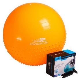 Мяч для фитнеса (фитбол) полумассажный с насосом 65 см PowerPlay 4003 желтый