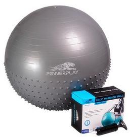 Мяч для фитнеса (фитбол) полумассажный с насосом 65 см PowerPlay 4003 серый
