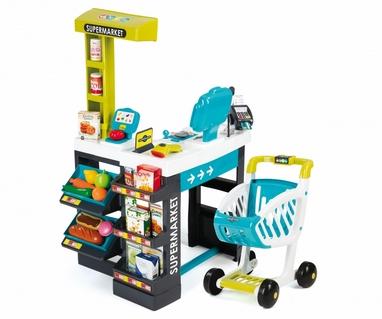 Супермаркет интерактивный City Shop с тележкой, продуктами и аксессуарами Smoby Toys зеленый