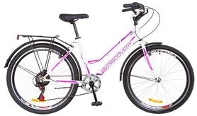 """Велосипед подростковый горный Discovery Flint 14G Vbr с багажником 2018 - 24"""",  рама - 14"""", бело-голубой (OPS-DIS-24-095)"""