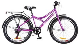 """Велосипед подростковый горный Discovery Flint 14G Vbr с багажником 2018 - 24"""",  рама - 14"""", фиолетово-белый (OPS-DIS-24-098)"""